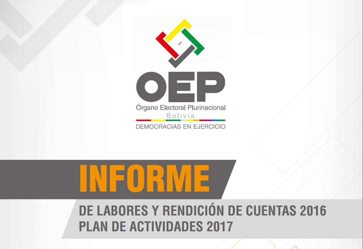 TSE presentará su informe de labores y rendición de cuentas de la gestión 2016 y el Plan de trabajo anual 2017 del OEP