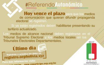 Este jueves vence el plazo para el registro de medios de comunicación y de organizaciones para difundir propaganda en el Referendo Autonómico
