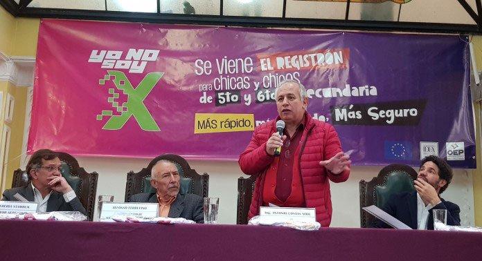 """El OEP lanzó la campaña """"Yo no soy X"""" para motivar el registro biométrico de más de 100 mil estudiantes de 5° y 6°de secundaria en Bolivia"""