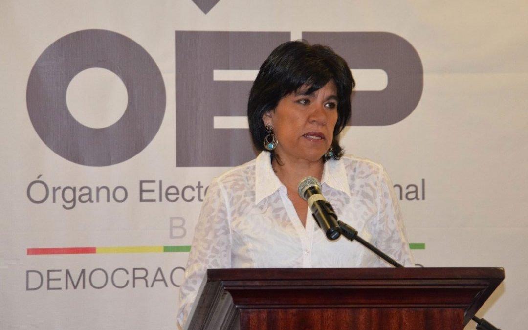 La presidenta del TSE, Katia Uriona, ratifica su disidencia con el Reglamento para las Elecciones Primarias