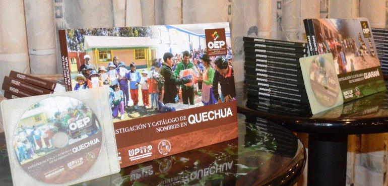 El OEP publica tres catálogos con más de tres mil nombres en idiomas aymara, quechua y guaraní