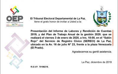 El TED La Paz presentará su rendición de cuentas el primer viernes de enero