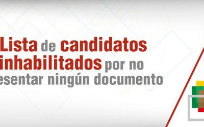 Quedan fuera de la carrera electoral 365 candidatos y candidatas