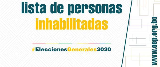 El TSE publica este domingo la lista de inhabilitados para votar en las Elecciones Generales 2020