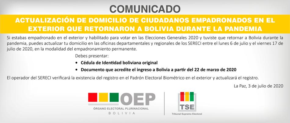 Ciudadanos que retornaron a Bolivia por la pandemia podrán actualizar su registro y votar en las Elecciones Generales
