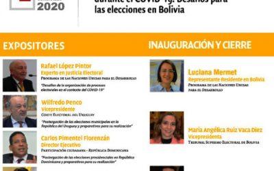 """El TSE y el PNUD convocan al conversatorio """"Experiencias electorales comparadas durante el COVID-19: Desafíos para las elecciones en Bolivia"""""""