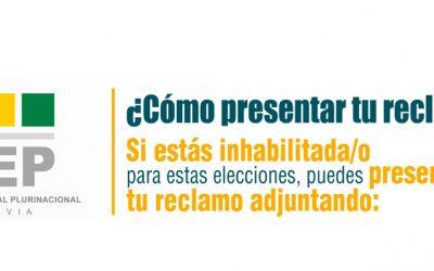Electoras y electores inhabilitados pueden presentar reclamos hasta el 8 de septiembre