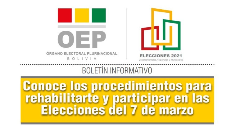 Conoce los procedimientos para rehabilitarte y participar en las Elecciones del 7 de marzo