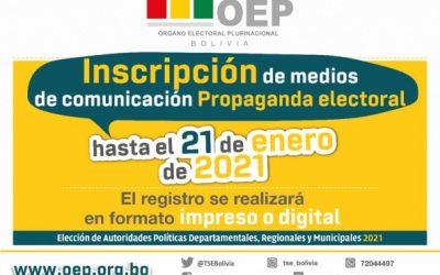 El 21 de enero vence el plazo para el registro de medios que difundirán propaganda electoral