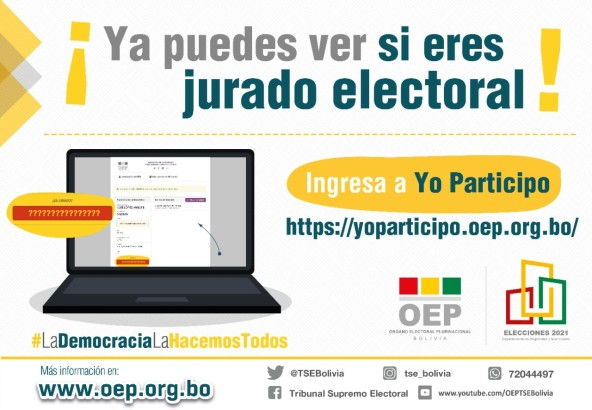 Ciudadanos podrán verificar si fueron designados jurados electorales a través del portal Yo participo