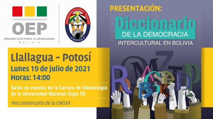 El TSE presentará el Diccionario de la democracia intercultural en Bolivia en Llallagua, Potosí y Sucre