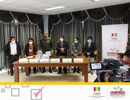 El TED Cochabamba y la Policía Boliviana presentan el plan de seguridad para la jornada electoral de Comteco