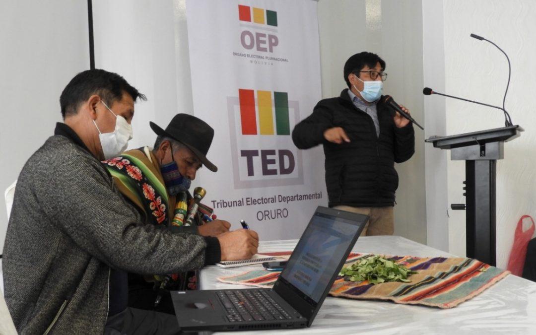 El TED Oruro y la GAIOC Salinas trazan una agenda de trabajo para impulsar la democracia comunitaria