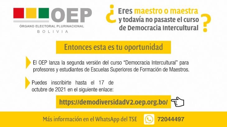 El OEP lanza la segunda versión del curso en Democracia Intercultural para profesores y estudiantes de las Escuelas Superiores de Formación de Maestros